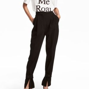 New $49.99 H & M Wide Trousers Sz14 Black Tapered